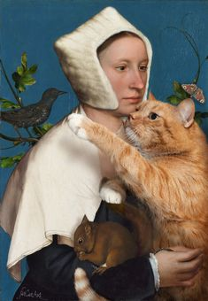 Famous-Paintings-Zarathustra-Fat-Cat-New-Art-Svetlana-Petrova - Wanderlust Fat Cats, Cats And Kittens, Cats Bus, Kitty Cats, Crazy Cat Lady, Crazy Cats, Hans Holbein Le Jeune, Hans Holbein The Younger, Cat People