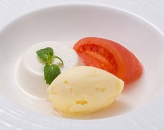 Tomato Compote and Pannacotta with Homemade Ice Cream