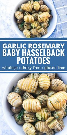 Garlic Rosemary Baby Hasselback Potatoes are a yummy and surprisingly simple appetizer or side dish! Plus they're Whole30, paleo, dairy free, vegan, & gluten free.
