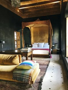 Not sure where to stay in Marrakech? Read on to find out why El Fenn is the ideal boutique hotel stay for your next visit to Morocco. Moroccan Interiors, Moroccan Decor, Moroccan Style, Moroccan Lanterns, Modern Moroccan, Moroccan Design, Bedroom Color Schemes, Bedroom Colors, Dream Bedroom