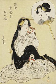 Woman Holding a Cat. Ukiyo-e woodblock print. Early 19th century, Japan. ArtistUtagawa Toyokuni I