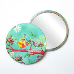 Round Pocket Makeup Mirror - What A Wonderful World Bird with Music and Flowers World Birds, Free Black, Black Mirror, What A Wonderful World, French Artists, Cute Illustration, Small Gifts, Wonders Of The World, Pouch