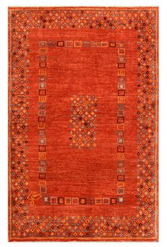 A stunning orange carpet that uses inspiration drawn from tribal Gabbeh designs to create something modern with a contemporary geometric pattern F177-2551