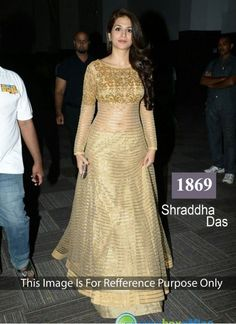 Shraddha Das Cream Anarkali Suit