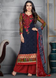 USD 34.84 Karisma Kapoor Navy Blue Georgette Palazzo Style Suit 54524
