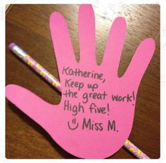 "Great positive behavior management strategy - write different expectations on hands, handout to students as they demonstrate, students add up their ""high fives"" at the end of the day for money for the school store! Classroom Rewards, School Classroom, School Fun, Classroom Organization, Classroom Ideas, Future Classroom, Middle School, High School, Classroom Management Primary"