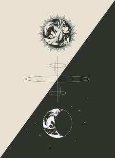 Sun & Moon Cosmic Totem - Minimal Art Print Design by Pineapple Jam Constellations, Cute Wallpapers, Wallpaper Backgrounds, Drawing Simple, Bild Tattoos, Graphic Design Studios, Studio Design, Sun Moon, Grafik Design