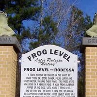 Concrete frogs and sign regarding the history of Rodessa, Louisiana - my mother grew up there and I spent a lot of time there with my maternal grandparents, aunts, uncles and cousins