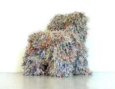 Shredded Paper Chair by Charles Kaisin: Looks like a friendly English Sheep Dog!