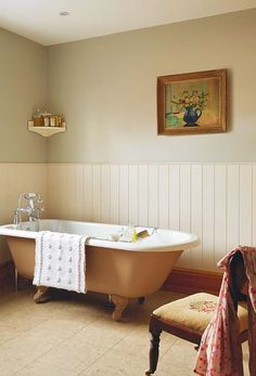 Bathroom removelled by builder Mike Early with traditional roll-top bath, painted wainscoat and floral accents in the painting and needlepoint chair. Home Renovation, Home Remodeling, Bathroom Renovations, Period Living, Roll Top Bath, Yellow Interior, Interior Decorating, Interior Design, Traditional Bathroom