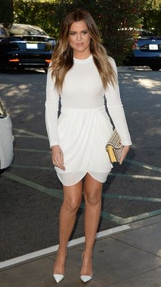 Tracking Khloé Kardashian's style transformation over the years. Here she is in an all white ensemble.
