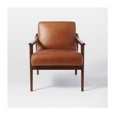 Mid-Century Leather Show Wood Chair ($999) ❤ liked on Polyvore featuring home, furniture, chairs, mid century modern leather chair, leather furniture, west elm furniture, wooden furniture and mid century modern chairs