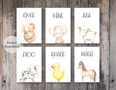 Farm Animals Sounds Set of 6 Printable Prints - Neutral Nursery Wall Art - Printable Wall Art