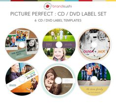 Picture Perfect CD / DVD Label Templates - 6 PSD Templates for Photographers. $14.00, via Etsy.