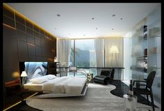 Amusing Latest Bedroom Designs With Dark Wall Lighting And Glass Wall Decor Idea