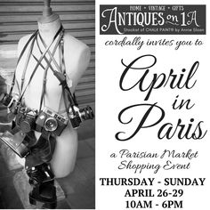 Join us for April in Paris, A Parisian Market Shopping Experience. Thursday-Sunday April 26-29, 10 am to 6 pm. New, vintage & upcycled furniture, unique vintage finds, one-of-a-kind creations, apparel, jewelry & art. Not to be missed! Vintage Gifts, Unique Vintage, April 26, Upcycled Vintage, Upcycled Furniture, Annie Sloan, Parisian, Jewelry Art, Thursday