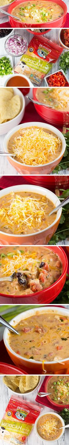 CHEESY CHICKEN ENCHILADA SOUP is bursting with flavor. It's hearty, cheesy and delicious. With hints of spice and a bit of creaminess, and ready in about 30 minutes, it's the perfect meal to enjoy with the whole family.