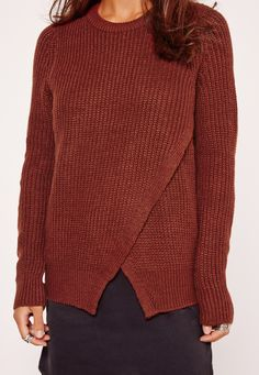 This wrap front jumper is just what you need for when the days grow cold! Knitwear on fleek!