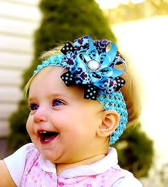 baby hair bow...blue/ brown... infant hairbow...newborn headband...accessory for infant, toddler and little girls...baby bow. $9.99, via Etsy.