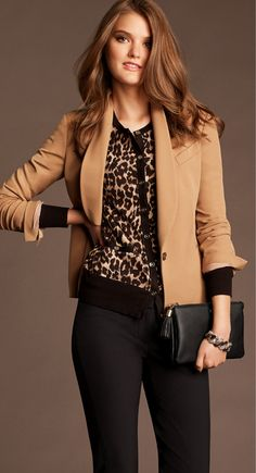 Cheetah and camel brown blazer