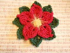 Poinsettia Brooch Large Crochet Flower in Red and by OmaRegina, $8.00