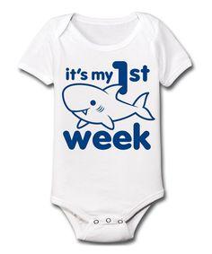 White 'It's My First Shark Week' Bodysuit - Infant
