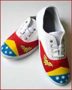 Painted Shoes Wonder Woman Shoes Custom Painted by PricklyPaw