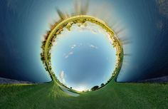 100 Photos Merge to Form Swirling 360-Degree Landscapes
