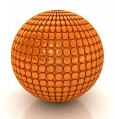 3D Abstract Orange Sphere. Computer generated image.