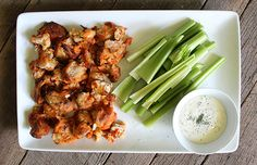 Buffalo Cauliflower Bites are a fiber-filled alternative to hot wings. #healthy #vegetarian #recipe