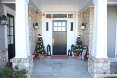 """Oh my word.. is it really Friday!? LIMPING to the finish line around here. What a week! December madness has definitely hit. But the house is decorated and it makes me so happy to come home from a busy day or evening to this Christmas porch. It just seems to say """"welcome home.. come inside …"""