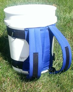 5 gal bucket back pack! love this idea for a 72hr kit. waterproof, lid doubles as a seat and could easily be diy. even make a smaller version from a 2.5 gal for kiddos.