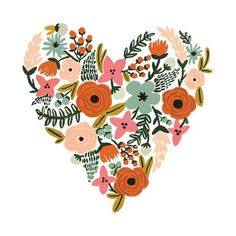 The amazing Rifle Paper Co. From beautifully lettered words to live by to Rifle Paper Co.'s signature flowers, the Floral Set is filled with 2 each of 4 amazing Tattly designs. Illustration Blume, Heart Illustration, Welcome Gifts, Gouache Painting, Heart Print, Design Thinking, Illustrations, Artsy, Stickers