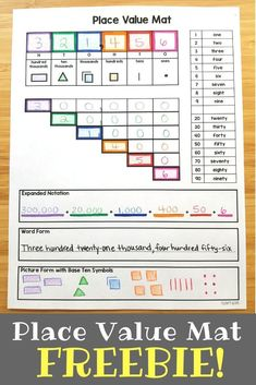 Help students compose and decompose BIG numbers wi Teaching Place Values, Teaching Math, Creative Teaching, Teaching Strategies, Math Place Value, Place Value Chart, Place Value Activities, Math Charts, Fourth Grade Math