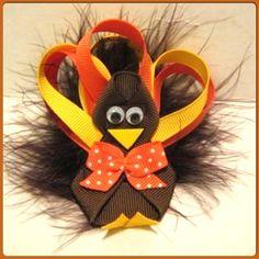 Girls Boutique Turkey Thanksgiving Hair Bow Sale Handmade Maribou