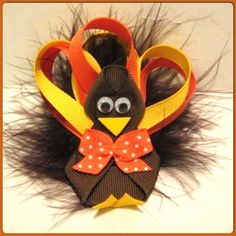 Girls Boutique Turkey Thanksgiving Hair Bow Sale Handmade Maribou