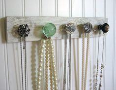 Jewelry Storage Wall Organizer--Silver, Mint, and Teal. Very cute and classy. Great way to show off those unique knobs!