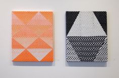 """Samantha Bittman, """"Untitled"""" (2016), acrylic on hand-woven textile, 20 x 16 inches; """"Untitled"""" (2016), acrylic on hand-woven textile, 20 x 16 inches. From 'Construction Site' at McKenzie Fine Art"""