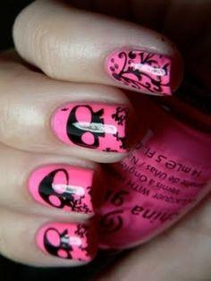 Pink Skull Nail Art via @Cristina Let them have Polish