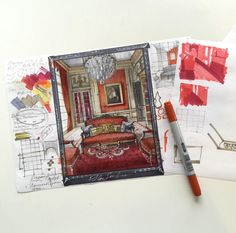 Red room, my hand rendering with markers of Hôtel Particulier Paris 7e