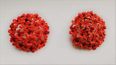 Fiery red floral vintage clip-on earrings
