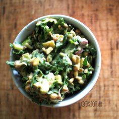 """Better The Next Day"" Kale Salad! Kale Salad, Meatless Monday, Guacamole, Potato Salad, Wellness, Ethnic Recipes, Food, Eten, Kale Salads"