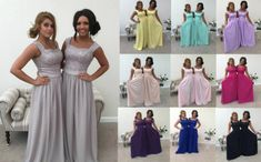 SILVER GREY 2 SHOULDER CHIFFON LACE BRIDESMAID WEDDING DRESS LONG MAXI CHARLOTT