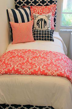 Coral & Navy Damask Designer Teen & Dorm Bed in a Bag 2.0
