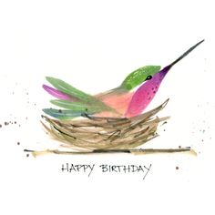 Hummingbird done in Chinese Brush painting style. Birthday card for hubby.