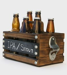 Rustic Wood 6-Pack Beer Carrier | Carry your favorite brews in style with this custom 6-pack car... | Food & Beverage Carriers