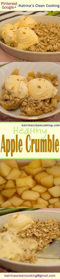 Healthy Apple Crumble: refined-sugar-free, fibre & protein, can be wholewheat or gluten-free, no butter/oil. Perfect hearty breakfast or indulgent dessert! Clean Eating Recipes, Healthy Eating, Healthy Recipes, Healthy Apple Crumble, Group Meals, Low Sugar, Sweet Stuff, Glutenfree, Dairy Free