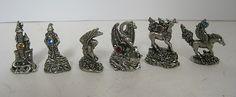 Pewter Figurines Lot of 6 Dragon Unicorn Wizard Pegasus Castle with Birth Stones   eBay