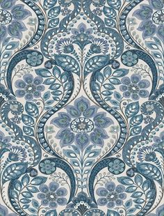 This folk style damask wallpaper has an intricate, hand drawn design. A beautiful array of blues accent the floral pattern over a dove grey background. Grey Damask Wallpaper, Geometric Wallpaper Murals, Embossed Wallpaper, Wallpaper Decor, Wallpaper Roll, Wallpaper Ideas, Brewster Wallpaper, Wallpaper Warehouse, Gold Embroidery