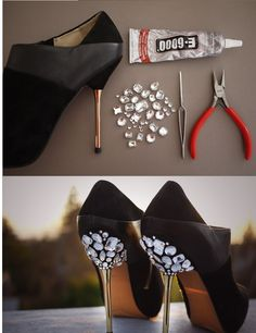 DIY pimp your high heels - Woman's heaven...my head just burst with ideas! The possibilities are endless!!!